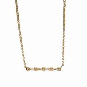 """""""Cleometra"""" Pyramid Rivets Row - Necklace - Gold"""
