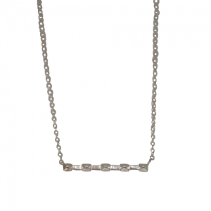 """Cleometra"" Pyramid Rivets Row - Necklace - Silver"
