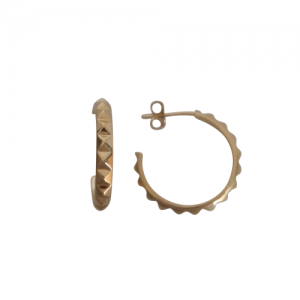 """Cleometra"" Pyramid Rivets Creole - Stud Earring - Gold"