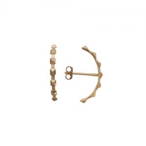 """Cleometra"" Pyramid Rivets Row - Stud Earring - Gold"