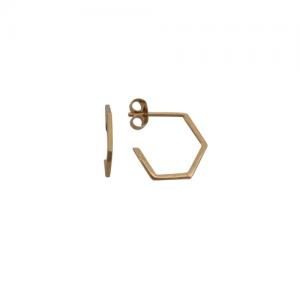 """Cleometra"" Hexagon Line - Stud Earring - Gold"