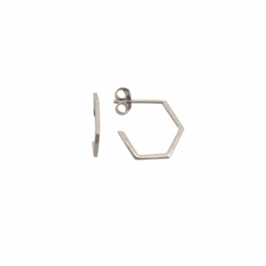 """Cleometra"" Hexagon Line - Stud Earring - Silver"