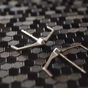 """Cleometra"" Pyramid Rivets Tron - Stud Earring - Silver"