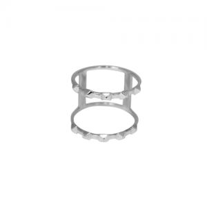 """Cleometra"" Pyramid Rivets Row Cage - Ring - Silver"