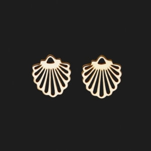 """Hummingbird Shell"" - Stud Earring - Gold"
