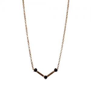 """Petit Point"" Onyx Musca Constellation - Necklace - 18 Karat Gold"
