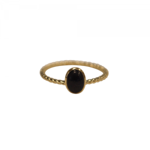 """Sophie"" Ellipse Twist Onyx - Ring - Gold"