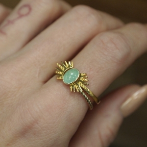"""Sophie"" Ellipse Twist Aventurin - Ring - Gold"
