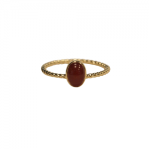 """Sophie"" Ellipse Twist Carnelian - Ring - Gold"