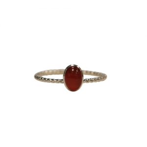 """Sophie"" Ellipse Twist Carnelian - Ring - Silver"