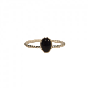 """Sophie"" Ellipse Twist Onyx - Ring - Silver"