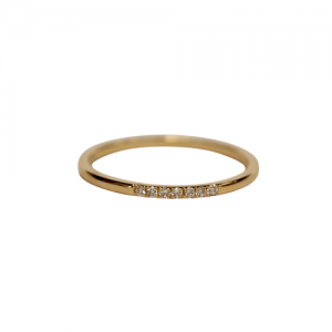 """Stripes & Joist"" Seven Diamond White - Ring - 18 Karat Gold"