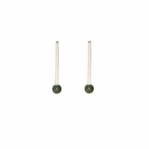 """Petit Point"" Green Jade Sputnik I - Stud Earring - Silver"