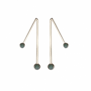 """Petit Point"" Amazonite Sputnik II - Stud Earring - Silver"