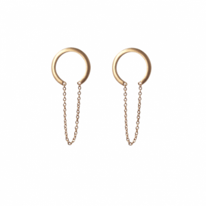 """Curvaceous"" Crescent Tusk Chaining - Stud Earring - Gold"