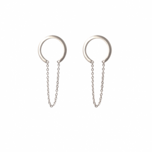 """Curvaceous"" Crescent Tusk Chaining - Stud Earring - Silver"