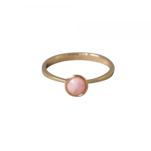 """Trinity"" Pink Opal Solitaire - Ring - 18 Karat Gold"