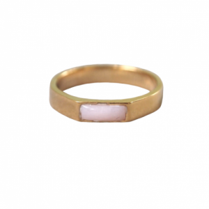 """Stripes & Joist"" Pink Opal - Ring - Gold"