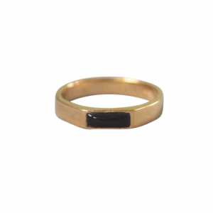 """Stripes & Joist"" Black Onyx - Ring - Gold"
