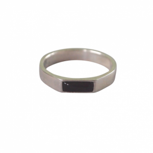 """Stripes & Joist"" Black Onyx - Ring - Silver"