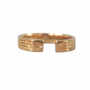 """Stripes & Joist"" Open M - Ring - Gold"
