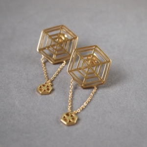 """Cleometra"" Spiderweb - Stud Earring - Gold"