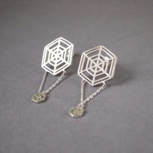 """Cleometra"" Spiderweb - Stud Earring - Silver"