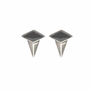 """""""Oneiro"""" Alliance Onyx 1/2 - Stud Earring - Silver"""