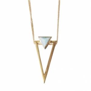 """""""Suspirium"""" Amazonite Big - Necklace - Gold"""