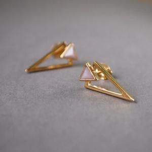 """Suspirium"" Pink Opal - Stud Earring - Gold"