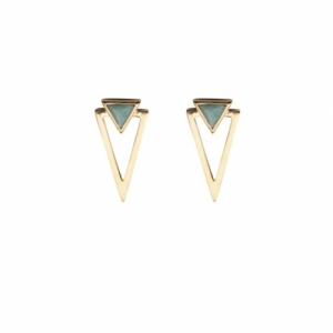 """Suspirium"" Amazonite - Stud Earring - Gold"