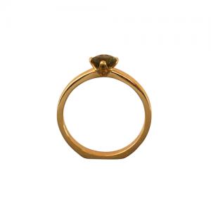 """Cityfox"" Moldavite Solitaire - Ring - 18 Karat Gold"