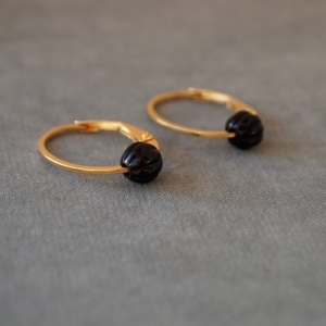 """Panthera"" Notch Onyx - Oval Creole - Gold"