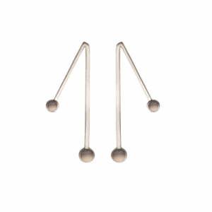 """Petit Point"" Grey Moonstone Sputnik II - Stud Earring - Silver"