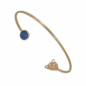 """Panthera"" Denim Lapislazuli & Head - Bangle - Gold"