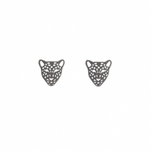 """Panthera"" Head Mini - Stud Earring - Ruthenium"