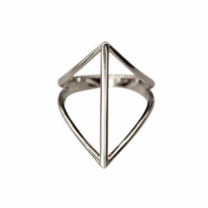 """Opalia"" Rhombus Bar - Ring - Silver"