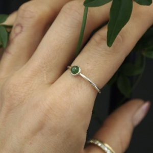 """Petit Point"" Green Jade - Ring - Silver"