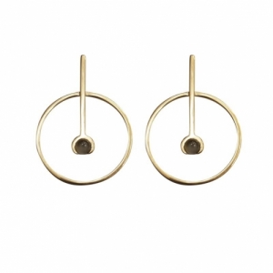 """Atmos"" Source Grey Moonstone - Stud Earring - Gold"