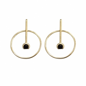 """Atmos"" Source Onyx - Stud Earring - Gold"