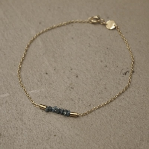 """Rocks"" Blue Rough Diamond - Bracelet - Gold"