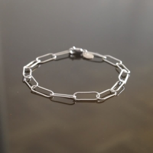 """Elongated"" Paperclip Light - Bracelet - Silver"