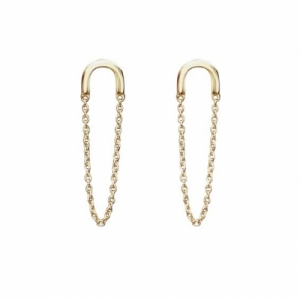 """Elongated"" Chaining - Stud Earring - Gold"