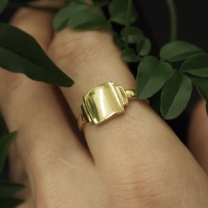 """Baguette"" Artdéco Signet - Ring - 18 Karat Gold"