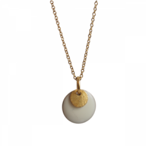 """Spot"" White/Gold - Necklace - Gold"