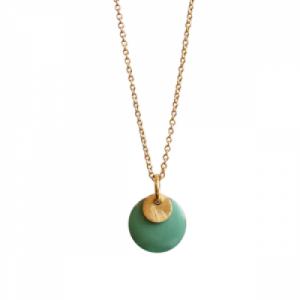"""Spot"" Mint/Gold - Necklace - Gold"