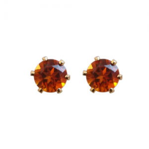 """Solitaire"" Fire Citrin (M) - Stud Earring - Gold"