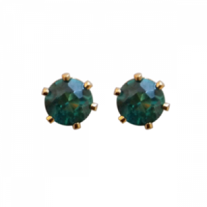 """Solitaire"" Green Topaz (M) - Stud Earring - Gold"