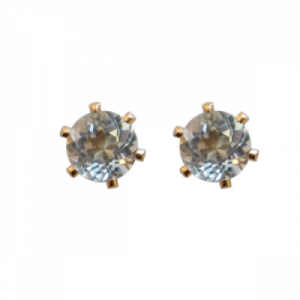 """Solitaire"" Aquamarin (M) - Stud Earring - Gold"