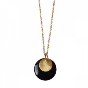"""Spot"" Black/Gold Large - Necklace - Gold"